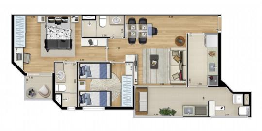 Ipiranga, Apartamento Padrão-Planta padrão 2 dormitórios.