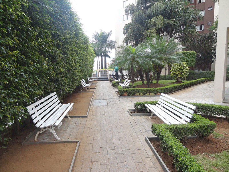 Sacomã, Apartamento Padrão-Áreas ajardinadas com banco