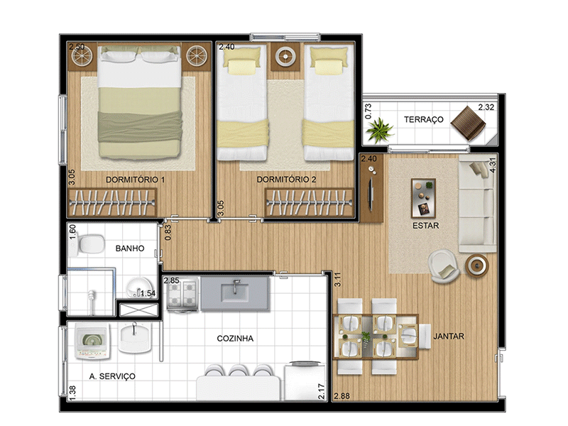 Sacomã, Apartamento Padrão-Planta 47 m�