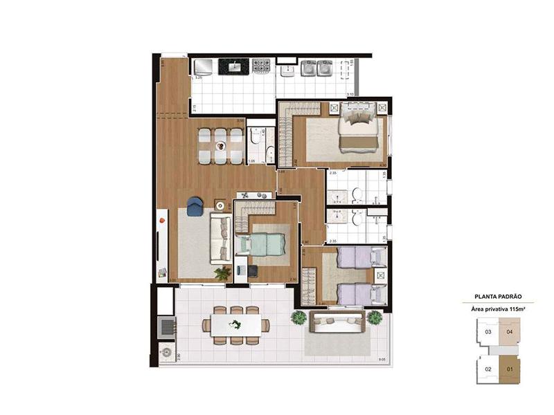 Ipiranga, Apartamento Padrão-Planta