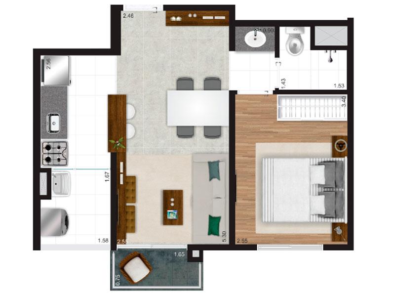 Ipiranga, Apartamento Padrão-Planta.