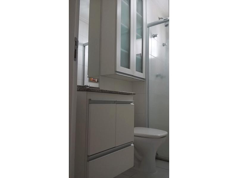 Ipiranga, Apartamento Padrão-Banheiro social com piso de cerâmica, pia de granito gabinete e box de vidro.