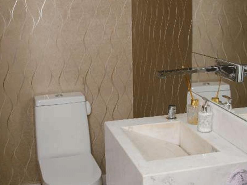 Ipiranga, Apartamento Padrão-Lavabo com pia de mármore e espelho.