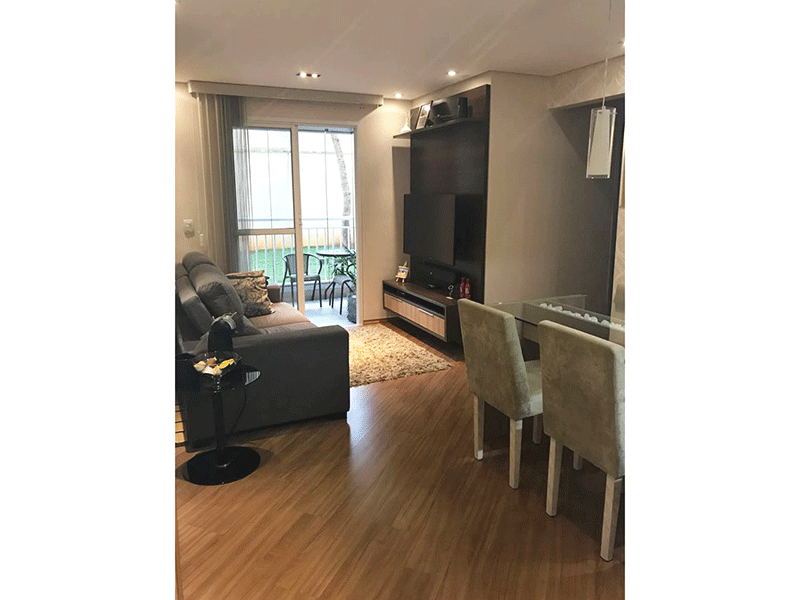 Sacomã, Apartamento Padrão - Sala em L com piso laminado, teto rebaixado com iluminação embutida e acesso para varanda.