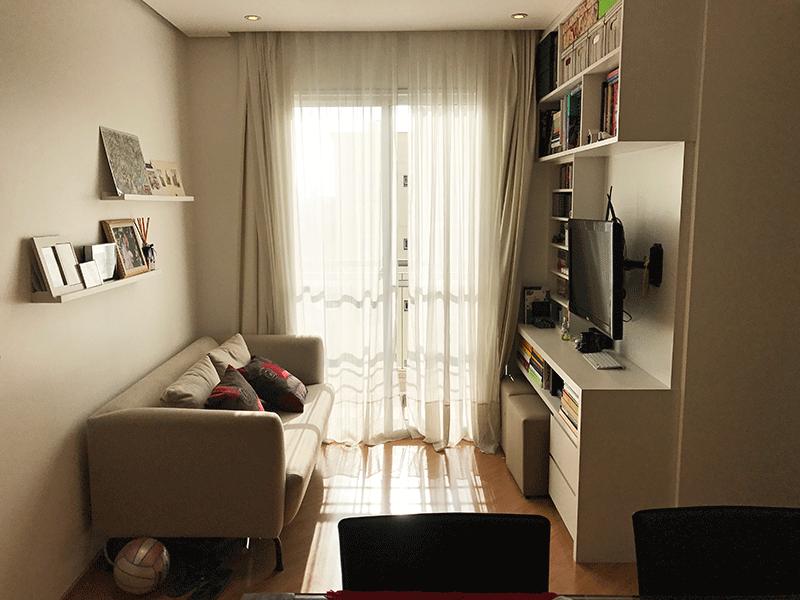 Sacomã, Apartamento Padrão - Sala em L com piso laminado, teto rebaixado com iluminação embutida de led.