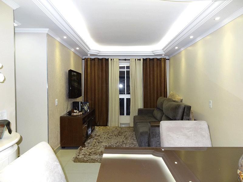 Sacomã, Apartamento Padrão - Sala em L com piso de porcelanato, teto com sanca de gesso e iluminação embutida.