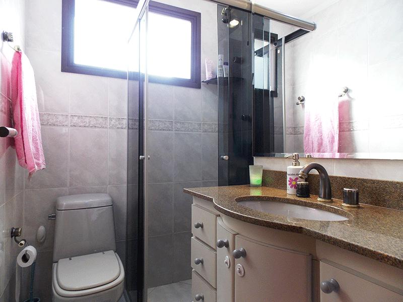 Ipiranga, Apartamento Padrão-Banheiro social com piso de cerâmica, pia de granito, gabinete, box de vidro e teto com moldura de gesso.