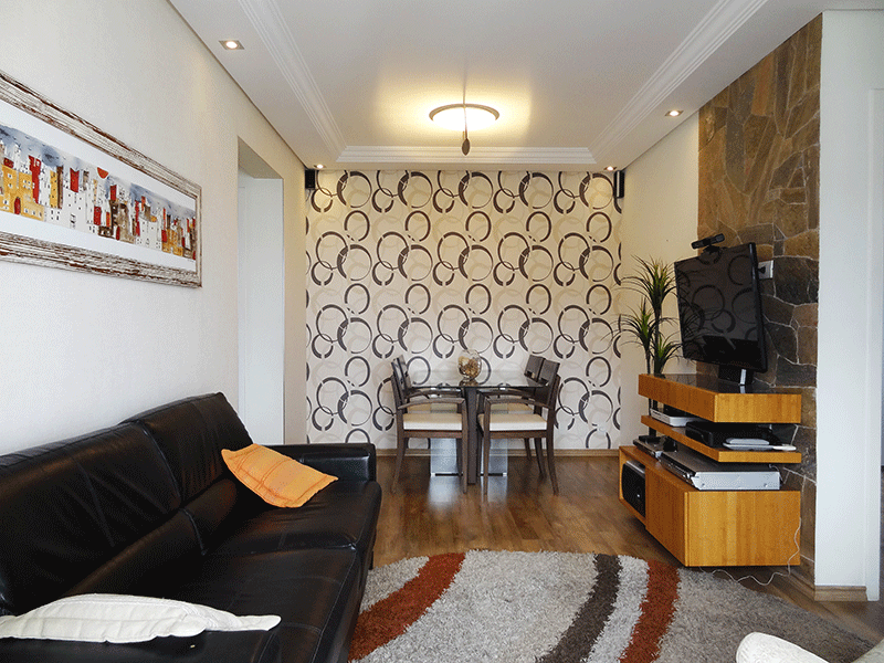 Jabaquara, Apartamento Padrão-Sala com dois ambientes, laminado, teto com sanca de gesso, iluminação embutida e acesso à sacada.
