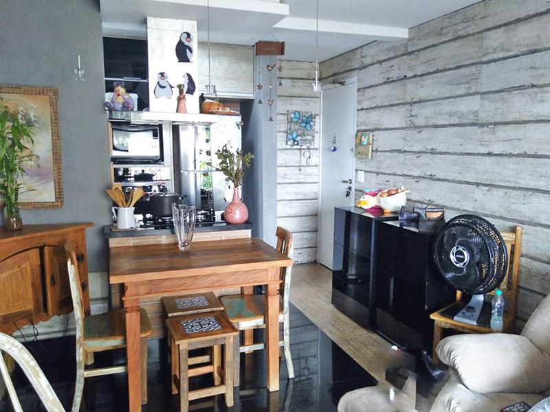 Ipiranga, Apartamento Padrão - Sala integrada com a varanda, com dois ambientes, piso de porcelanato e teto rebaixado com iluminação embutida