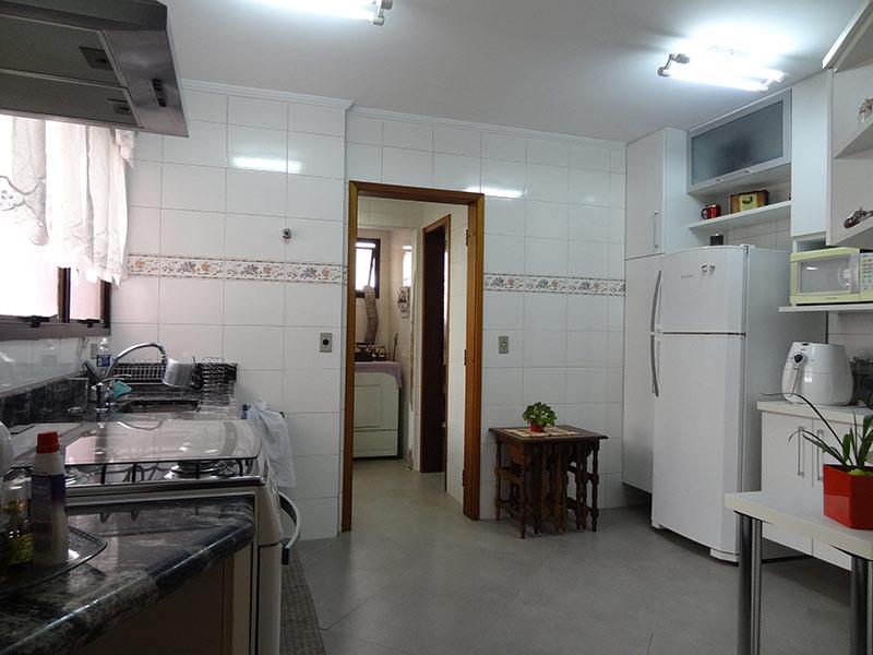 Ipiranga, Apartamento Padrão-Cozinha com piso de porcelanato, teto com moldura de gesso, pia de granito, gabinete e armários planejados.