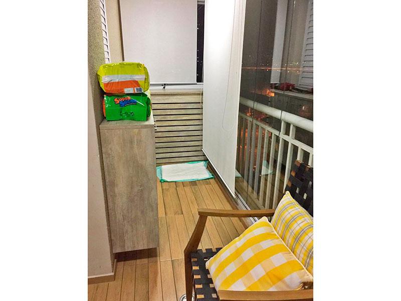 Ipiranga, Apartamento Padrão-Sacada com piso de taquinhos e fechamento de vidro.