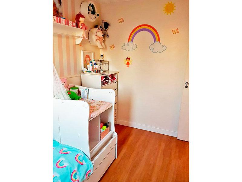 Sacomã, Cobertura Duplex-2º dormitório com piso laminado, teto com moldura de gesso e armários planejados.