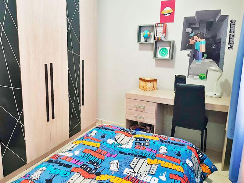 Sacomã, Apartamento Padrão-2º Quarto com piso de cerâmica e teto com moldura de gesso.