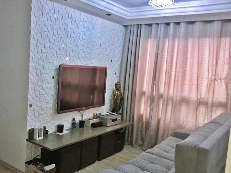 Sacomã, Apartamento Padrão - Sala em L com piso de laminado, teto com sanca de gesso e iluminaçona embutida.