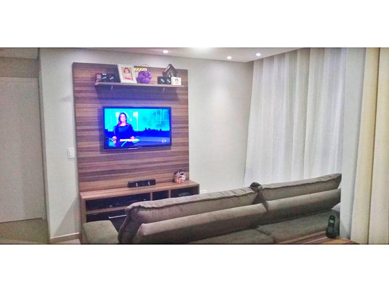 Jabaquara, Apartamento Padrão - Sala em L ampliada (com o 3º quarto), com piso de porcelanato, teto com sanca, iluminação embutida e acesso a varanda.