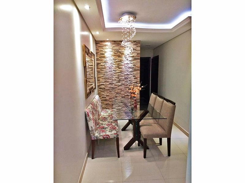 Sacomã, Apartamento Padrão-Sala em L com piso de cerâmica, teto com sanca de gesso e iluminação embutida.