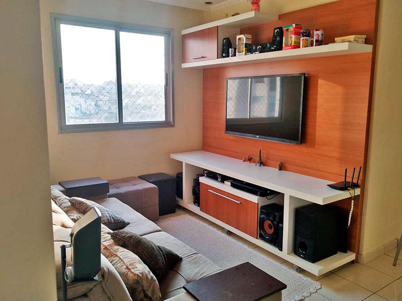 Sacomã, Apartamento Padrão - Sala com piso de cerâmica, teto com sanca de gesso e iluminação embutida.