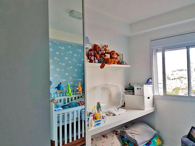 Jabaquara, Apartamento Padrão-2º Quarto com piso de porcelanato e armários planejados.